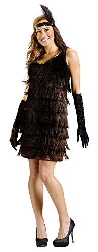 GTH Women's Black Fringe Flapper 1920'S Adults Theme Party Halloween Costume, M/L (10-14) -