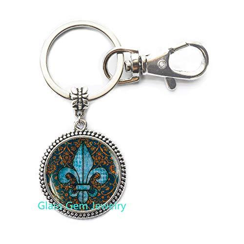 (Fleur de lis Key Ring, Fleur de lis Keychain, Fleur de lis Jewelry, Heraldry Jewelry Royal Heraldic Sign,Q0068 (Y1))