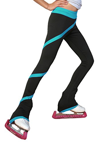 (ChloeNoel Figure Skating Spiral Pants P06 Turquoise Child Medium )