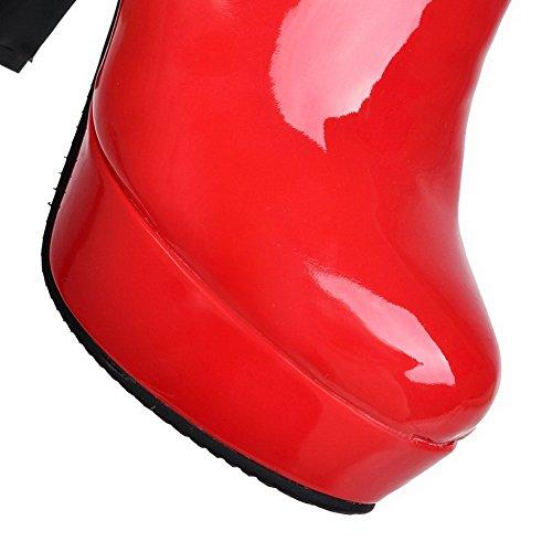AllhqFashion Mujeres Puntera Redonda Caña Baja Tacón Alto Sólido Pu Botas Rojo