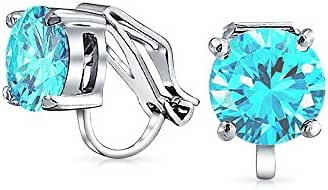 Bling Jewelry Blue Bridal Solitaire Clip On Stud Earrings Rhodium Plated