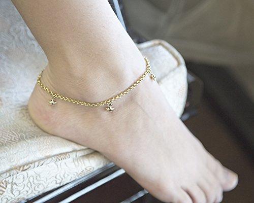 14 K gold dangle anklet bracelet 10'' by Unknown