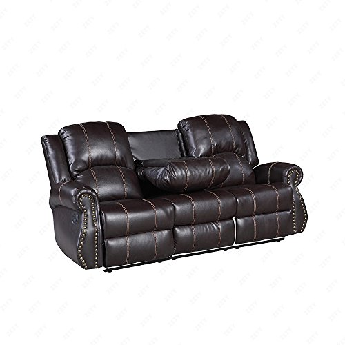 Holi-us 3-piece Bonded Leather Recliner Sofa Gold Thread Sofa set& Loveseat & Chair Living Room Furniture set in Brown
