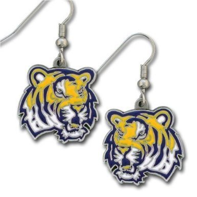 - NCAA Team/School Logo Hypoallergenic Dangle Earrings (LSU Tigers)