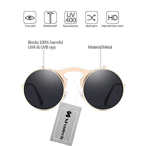 Punk Hommes 3 Chaîne Lunettes Unisex Flip up Style Retro Lens de Metal XFentech Style avec A Sunglasses Femmes Round Soleil HaExYqB