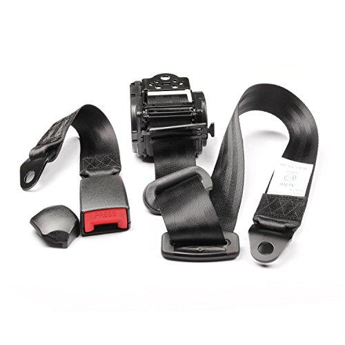 3 Point Retractable Seat Belts (2017 black friday deals Fontic Black Universal Adjustable Retractable 3 Point Car AUTO Nylon Safety Seat Lap Belt Set Kit)