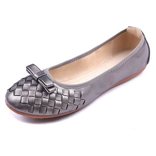 ChicNChic Women Casual Leather Foldable Ballerina Flats Shoes Round Toe Slip on Loafer (9 B(M) US, Grey)