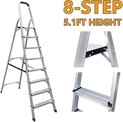 HYLH Escalera 8 escalones Plegable Aluminio Ligero Portátil Antideslizante 330 LB Carga máxima para el hogar Oficina en el hogar Constructor Bricolaje: Amazon.es: Hogar