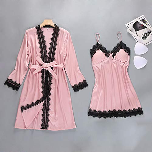 Sling Manches Ensemble Vêtements Patchwork Femmes Satin Robe Mode Bessky De Sexy Nuit Dentelle À Longues Pink Lingerie nWOqvx80
