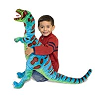 """Melissa & Doug T-Rex Animal de peluche gigante, Fauna silvestre, Colores atrevidos, Tejido de poliéster suave, Soportes en dos pies, 26 """"Alt. X 30"""" An. X 9 """"L"""