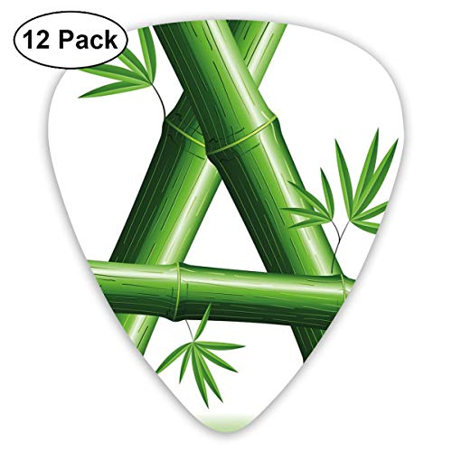 Guitar Picks - Abstract Art Colorful Designs,Green Bamboo Style Font First Letter Of The Alphabet Nature Inspired Illustration,Unique Guitar Gift,For Bass Electric & Acoustic Guitars-12 Pack