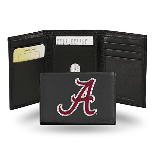 Rico Industries NCAA Alabama Crimson Tide Embroidered Leather Trifold Wallet (Roll Tide Purse)