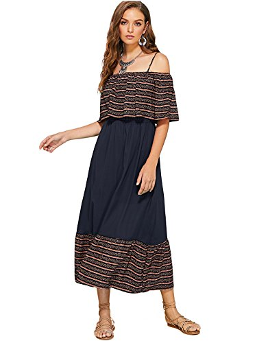 Bohemian Maxi Multicolor Flounce Layered Women's Off Neckline Dress Shoulder Tassel Milumia qAS0gTR