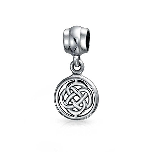 Round Celtic Knot Dangle Bead Charm .925 Sterling Silver (Celtic Charm Womens)