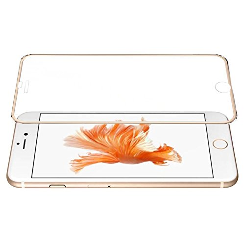 3D Curved Surface Full Coverage Ballistic Tempered Glass Screen Protector with Metal Frame for iPhone 6 Plus / 6s Plus, Gold Edge