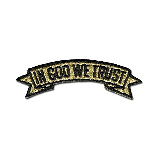 - Bastion Tactical Combat Badge Military Hook and Loop Badge Embroidered Morale Patch - in God We Trust (Tan)