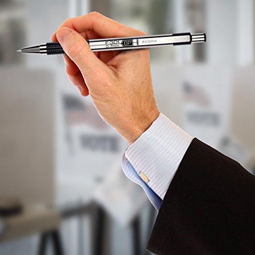 Zebra F-301 Ballpoint Stainless Steel Retractable Pen, Fine Point, 0.7mm, Black Ink, 2-Count