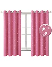 BGment Kids Blackout Curtains for Bedroom - Silver Star Printed Thermal Insulated Room Darkening Grommet Curtains for Living Room, 2 Panels of 52 x 63 Inch, Pink