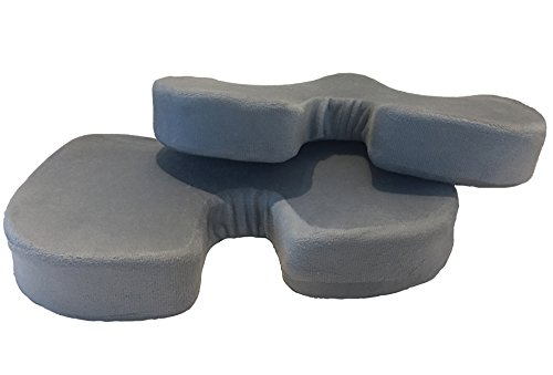Orthopedic Memory Foam Seat Cushion - Couples 2 Pack | Best to Relieve Coccyx, Tailbone, Sciatica, Lower Back Pain | For Cars, Wheelchair, Office or Stadium. Durable - Suits All People Large or Small