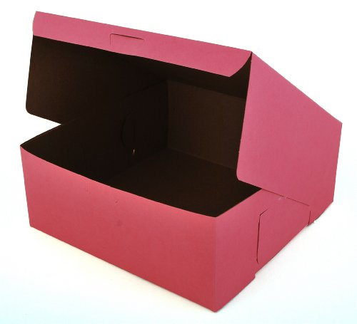 Southern Champion Tray 0873 Pink Paperboard Non-Window Lock-Corner Bakery Box, 10'' Length x 10'' Width x 4'' Height (Case of 100) by Southern Champion Tray (Image #1)