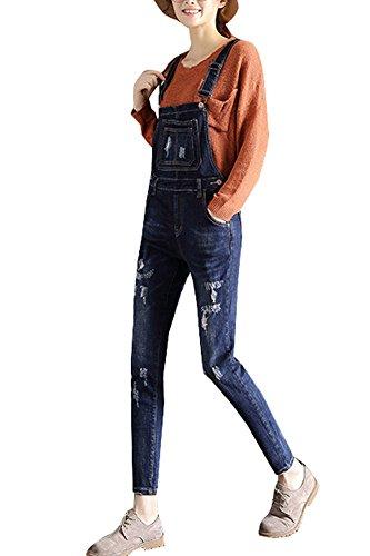 Estivi Pantaloni Skinny Marino Gladiolusa Donna Strappato Blu Lunghi Salopette Jeans Tuta IOwwX76Z0q