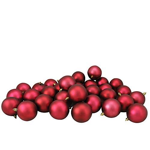 32ct Burgundy Red Shatterproof Matte Christmas Ball Ornaments 3.25