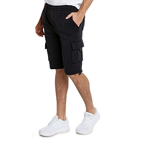 Mens Shorts Crown (9 Crowns Men's Casual Urban Fleece Cargo Shorts-Black-Medium)