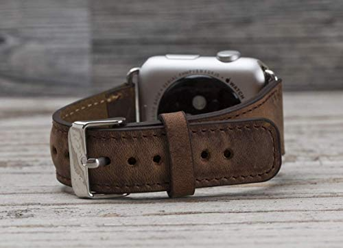 Full Grain Leather Antic Brown Apple Watch band, 42mm, 38mm, 40mm, 44mm for series 1-2-3-4