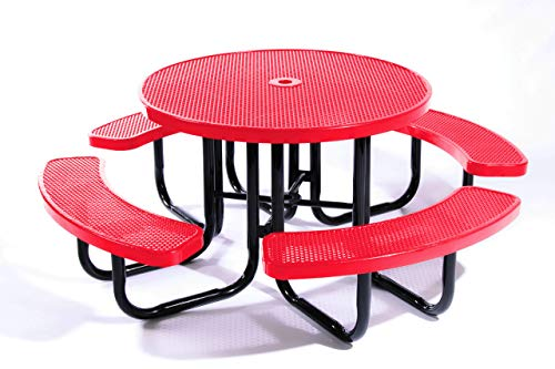 Coated Outdoor Furniture TRD-P-RED Round Portable Picnic Table, 46″, Red