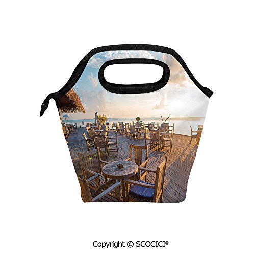 Portable thickening insulation tape Lunch bag Empty Wooden Open Air Cafe in Summer Near The Sea at Exotic Island for student cute girls mummy bag.]()