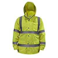 JORESTECH Safety Rain Jacket Waterproof Reflective High Visibility with Detachable Hood and Interior Mesh Yellow/Lime… 6