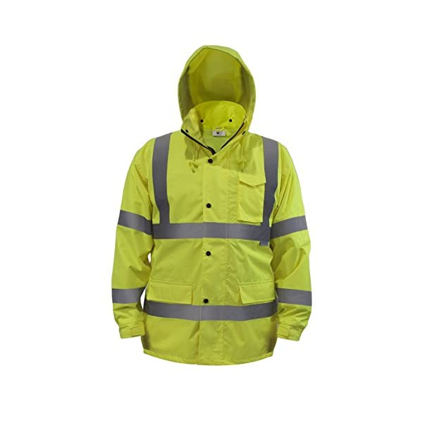 JORESTECH Safety Rain Jacket Waterproof Reflective High Visibility with Detachable Hood and Interior Mesh Yellow/Lime… 1