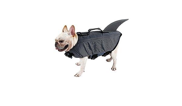 UEETEK Perro mascota Chaleco salvavidas Chaleco flotador de perro Traje de perro tiburón lindo Cachorro traje de baño de seguridad Ropa protectora para ...