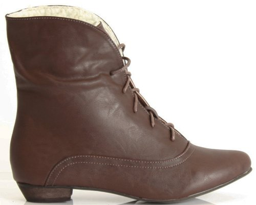 Ladies Ankle Girls Army Biker Size Flat Style D Lace Pixie Military Low Brown Heel Boots Vintage Womens Chelsea Up Combat dqO6Bwd