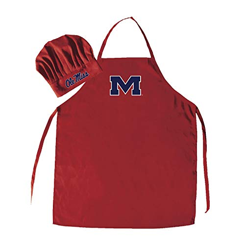 2 Piece Red NCAA Ole Miss Rebels Apron with Chef Hat Sports Team Logo Printed Kitchen Chef Apron Sports Themed Cooking Uniform BBQ Gardening Bib Clothing Grilling Fans Gift, Quality Polyester, Unisex