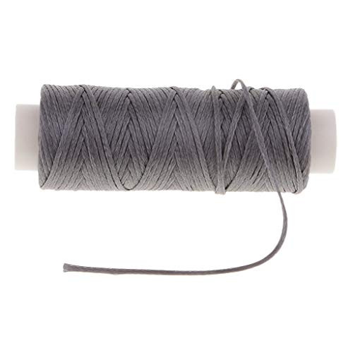 1 Spool 0.8mm Thick Leather Sewing Waxed Flat Thread for Repair Shoe Clothes | Color - Gray