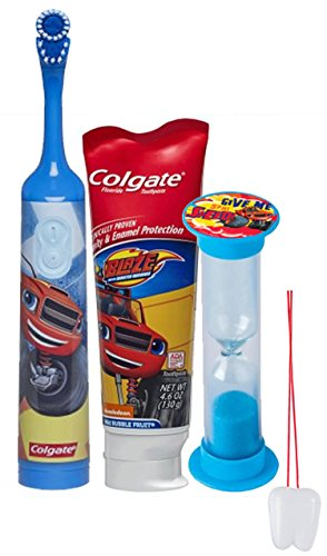 """""""Blaze and the Monster Machines"""" 3pc Bright Smile Oral Hygiene Set! Turbo Spin Toothbrush, Toothpaste & Brusing Timer! Plus Bonus """"Remember To Brush"""" Visual Aid"""