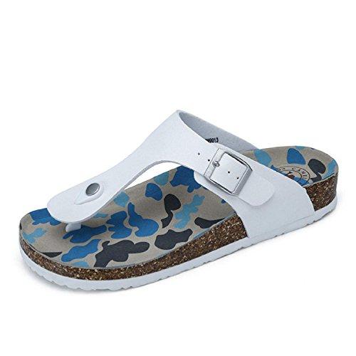 Mens Camoscio Sandalo Infradito Confortevole Slip On Sandalo Infradito Con Cinturino Bianco Fibbia