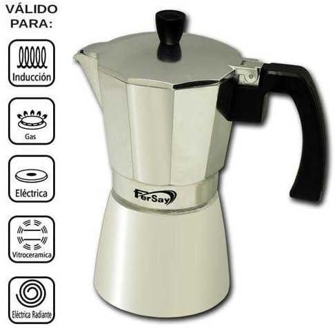 BAR Cafetera Italiana Fersay - 9 Tazas - Aluminio: Amazon.es: Hogar