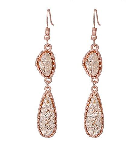 Simulated Druzy Drop Dangle Earrings Sparkly Long Double Teardrop French Hook Earrings for Women (Rose Gold)