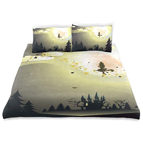 CANCAKA Halloween Duvet Cover Set Halloween Background Flying Witch Silhouette On Design Bedding Decoration King Size 3 PC Sets 1 Duvets Covers with 2 Pillowcase Microfiber Bedding Set Bedroom Decor]()