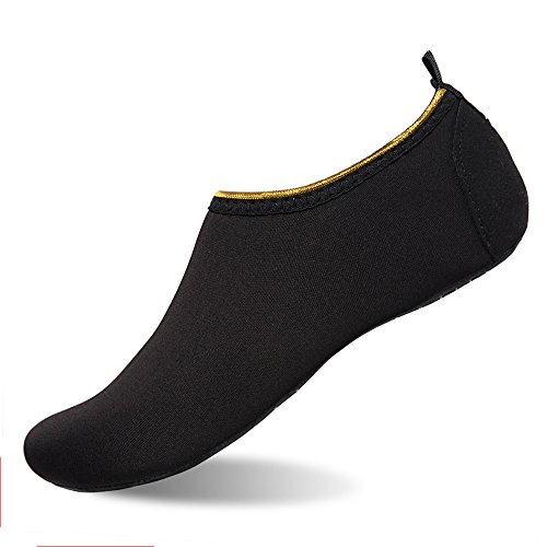 Edge Fine Trendy (Womens and Mens Water Shoes Barefoot Quick-Dry Aqua Socks for Beach Swim Surf Yoga Exercise (Gold Edge/Black, XXXL))