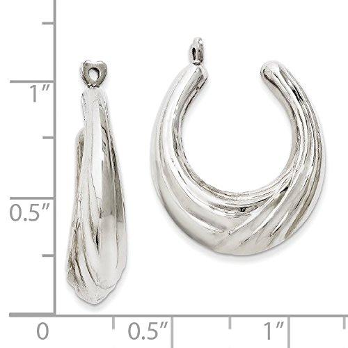 14K White Gold Scalloped Hoop Earring Jackets - (0.94 in x 0.24 in)