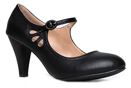 Kitten Heels Mary Jane Pumps By Zooshoo- Adorable Vintage Shoes- Unique Round Toe Design With An Adjustable Strap,Black,7 B(M) - Sandals Vintage