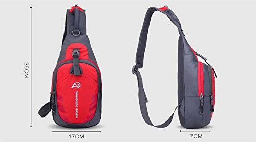 Sling hombro Crossbody pecho bolsa desequilibrio gimnasio Fanny mochila bolso bandolera con correa ajustable para el hombro para ciclismo senderismo Camping viajes hombres y mujeres, hombre, rojo rojo