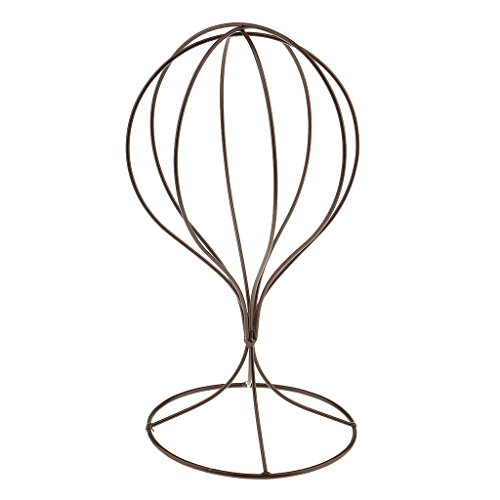 MagiDeal Durable Stable Metal Hat Cap Rack Wigs Holder Storage Display Stand Tool for Man & Women Home Shop Salon - Bronze, as described