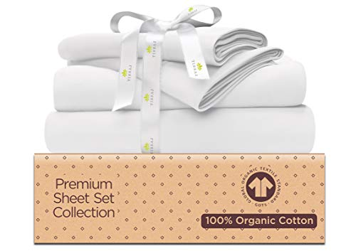 Organic Cotton Bed Sheets Set - 500TC King Size Ultra White - 4 Piece Bedding - 100% GOTS Certified Extra Long Staple, Soft Sateen Weave Bedsheets - Fits 15