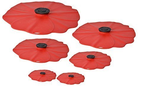 Charles Viancin Poppy Silicone Lid - Set of 6-11'', 9'', 8'', 6'', and two 4''