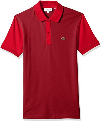 Sleeve Pima Pique Polo - Lacoste Men's Short Sleeve Color Block Pique Pima Stretch Slim Polo, PH3170, Turkey Red/Toreador, X-Large