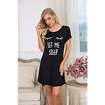 Hotouch Night Shirt Women's Print Sleepwear Cute Short Sleeve Sleep Shirts Cotton Nightgown Soft Nightwear S-XXL at Women's Clothing store